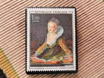 フランス 美術切手ブローチ6185の画像
