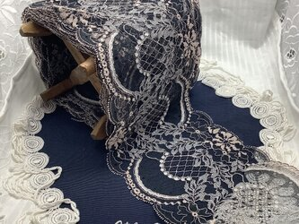 アンティークレース リバーレース 紺/ピンク 手染め 手作りエレガンス プレタの画像