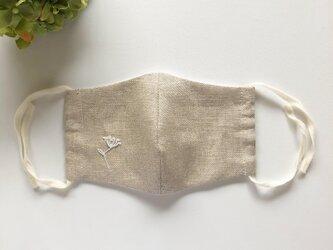 麻NUDE・レースフラワー刺繍×ベージュゴム 立体マスク 洗える手作り布マスクの画像
