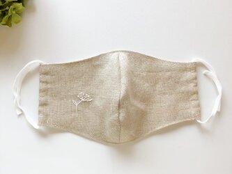 おおきめ! 麻NUDE・レースフラワー刺繍×白ゴム 立体マスク 洗える手作り布マスクの画像