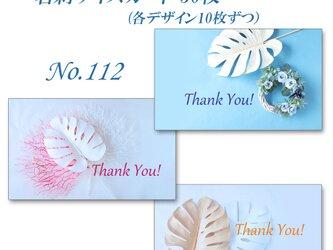 No.112  白いモンステラ ver2   名刺サイズサンキューカード   30枚の画像