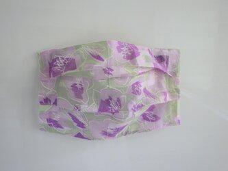 プリーツマスクカバー 紫のお花の画像