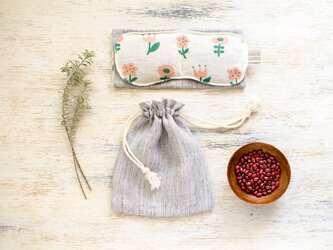 nordic flower あずきのぽかぽかアイピロー+巾着ポーチSET【受注制作】の画像