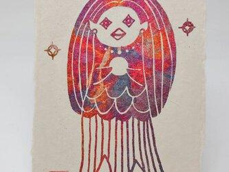 ギルディング和紙葉書 アマビエ2 赤混合箔の画像