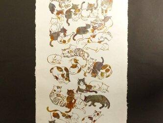 ギルディング和紙 cats ネコ 生成和紙 黃混合箔の画像