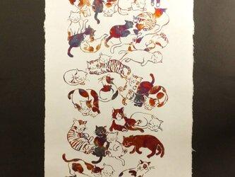 ギルディング和紙 cats ネコ 生成和紙 赤混合箔の画像