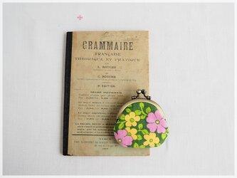 ■ヴィンテージファブリックの丸型がま口コインケース / 花柄グリーン■ cloche(vf-gwop)の画像