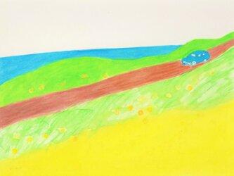 「春の海」イラスト原画  ※額縁入りの画像