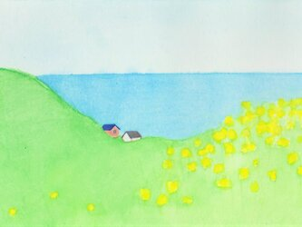 「菜の花と海」イラスト原画  ※額縁入りの画像