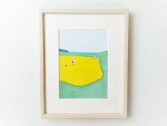 「菜の花と海2」イラスト原画  ※額縁入りの画像
