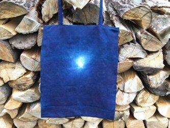■藍染・麻素材トートバックの画像
