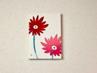 和紙貼り絵原画【ガーベラ】-サムホールサイズの画像