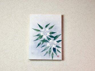和紙貼り絵原画【山紫陽花】-サムホールサイズの画像