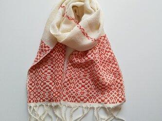 上質コットン手織り 浮き織り ミニマフラー ミニストール *赤  271の画像