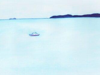 「穏やかな海」イラスト原画  ※額縁入りの画像