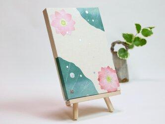 和紙貼り絵原画【水はす】-サムホールサイズの画像