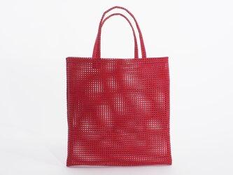 mesh leather hand bag(赤)山羊革/33×33/MB002の画像