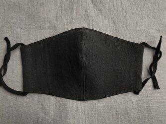 2枚組 リネンマスク「大きめ」ノーズフィッター入り new黒の画像