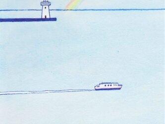「灯台と虹」イラスト原画  ※額縁入りの画像