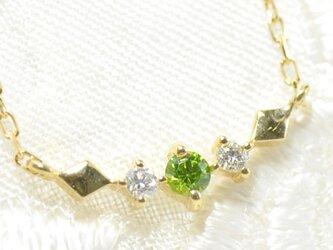 K18 デマントイドガーネット×ダイヤモンド ペンダント K18イエローゴールド カロ BM03110CIの画像