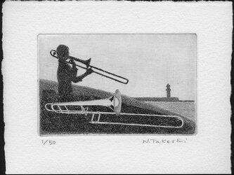 トロンボーン奏者/ 銅版画 (作品のみ)の画像