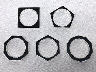 選べる多角形リングの5連セット(サイズ違い&仕上げ違いOK)の画像