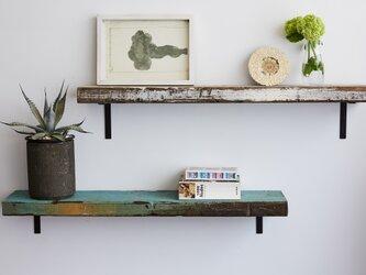 [造船古材] ディスプレイボード (足場板1枚 &アイアンパーツ2個set):Vintage Display Boardの画像
