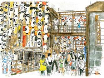 京の水彩画 A4サイズ 「祇園祭 鉾を楽しむ」の画像