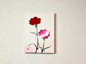 和紙貼り絵原画【カーネーションB】-サムホールサイズの画像