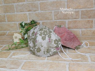 【夏マスク】涼しい肌触りのリネン立体マスク:オリーブ花柄(レディース・ジュニアサイズ)の画像