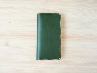 牛革 iPhoneSE2 カバー  ヌメ革  レザーケース  手帳型  グリーンカラーの画像