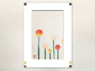 和紙貼り絵原画【丸花】-ペーパーフレームの画像