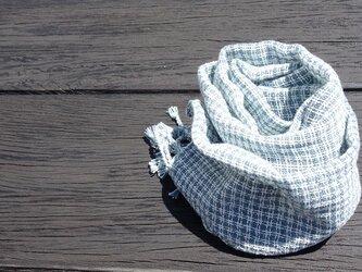 手織りコットンストール・・フレンチブルーの画像