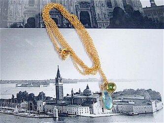 ブルートパーズ・ペリドットロングネックレスの画像