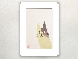 和紙貼り絵原画【ねこ】-ペーパーフレームの画像