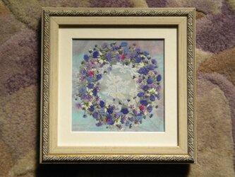 押し花アート かすみ草のブーケの画像