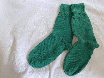 手編みのcotton靴下 グリーンの画像