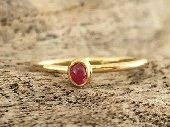 K24純金枠ピンクスピネル◇K18 Ring #8の画像