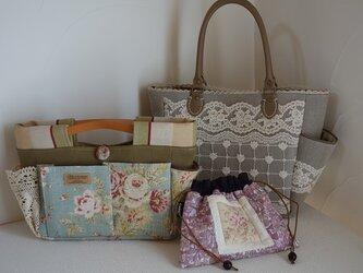 1様ご依頼品:お出かけバッグセット(サイドポケットバッグS、バッグインバッグ、リバティ巾着)の画像