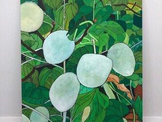 イラスト「白と緑の葉っぱ」原画の画像