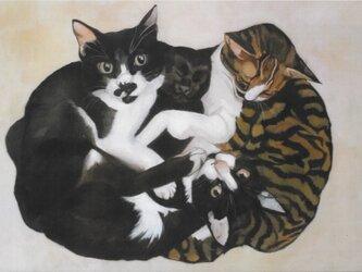猫イラスト「なかよし四ひき」(複製画)の画像