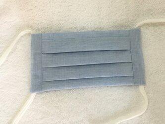 布マスク・プリーツタイプ(薄手・杢調ブルー)の画像