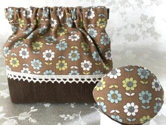 バネポーチと小物入れのセット 花柄 ブラウンの画像
