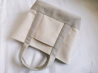 生成り8号帆布xリネン帆布のsトートバッグの画像