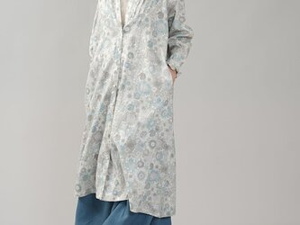 【wafu】リバティ フランダースリネン フリル 前開き 花柄 ドレス/スモールスザンナ・ライトブルー a081v-ssl2の画像