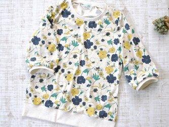 【L】七分袖プルオーバー*カットソー レトロ花柄の画像