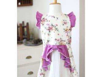 【100】燕尾フレアT*リボン付きTシャツ 花柄ピンクの画像