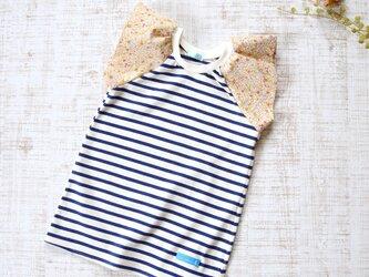 【120】ラップルカットソー*Tシャツ 紺白ボーダー×イエロー小花柄の画像
