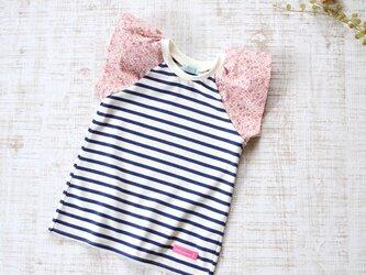 【100】ラップルカットソー*Tシャツ 紺白ボーダー×ピンク小花柄の画像