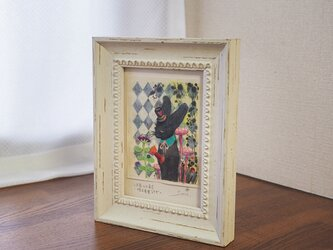 アクリル原画『三月兎のお茶会-帽子屋黒うさぎ』日々を愉しむちいさな絵 額装品の画像